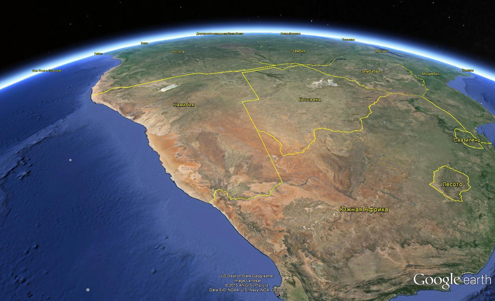Географическое расположение пустыни Намиб