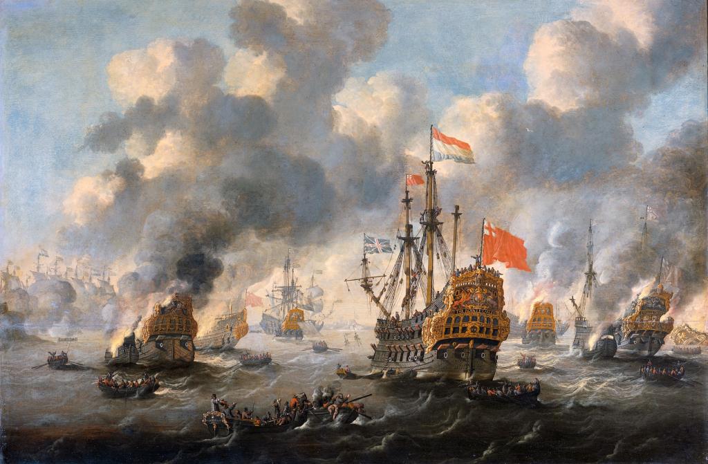 Het_verbranden_van_de_Engelse_vloot_voor_Chatham_-_The_Dutch_burn_down_the_English_fleet_before_Chatham_-_June_20_1667_(Peter_van_de_Velde)