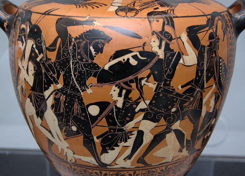 Сражение Геракла с амазонками | древнегреческая ваза 530 г. до н.э.