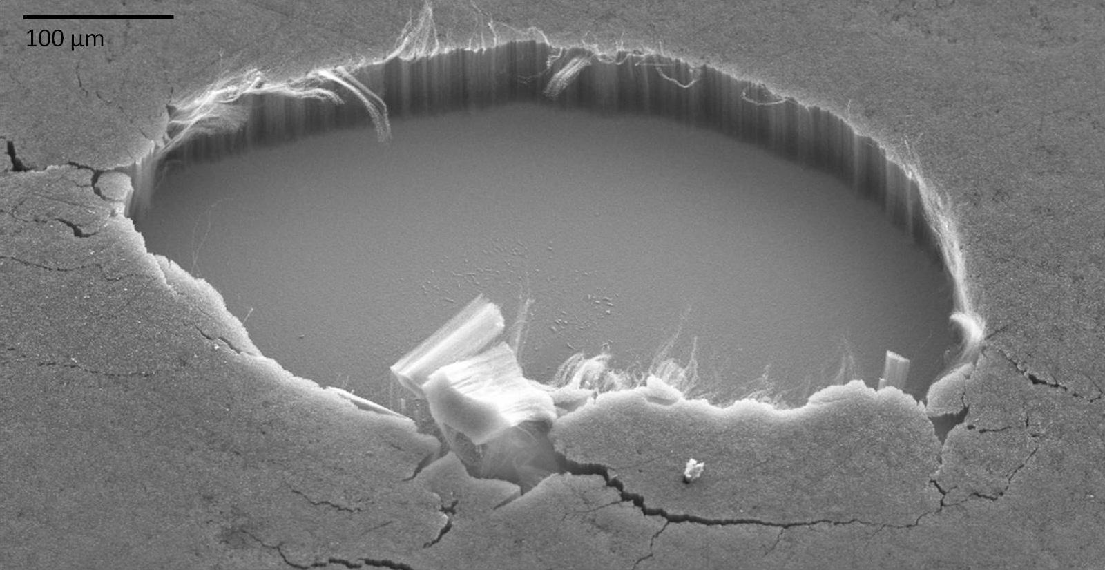 Материал под микроскопом